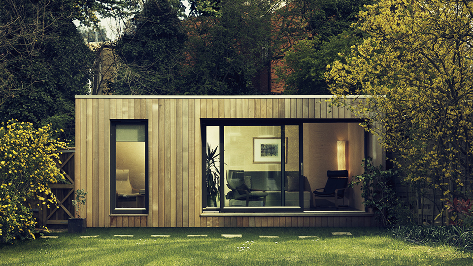 Garden studios contemporary garden room office ecospace for Prefabricated garden rooms